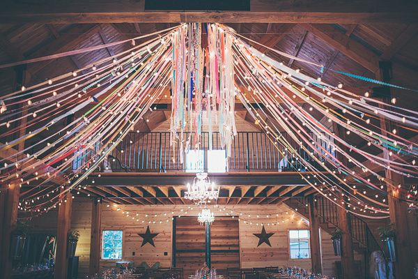 Barn Wedding Ceiling Idea. The colorful fabric really adds something unexpected.