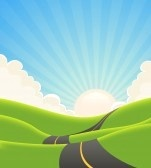 Illustration of a cartoon long road snaking inside green hills in spring or summer landscape stock photography