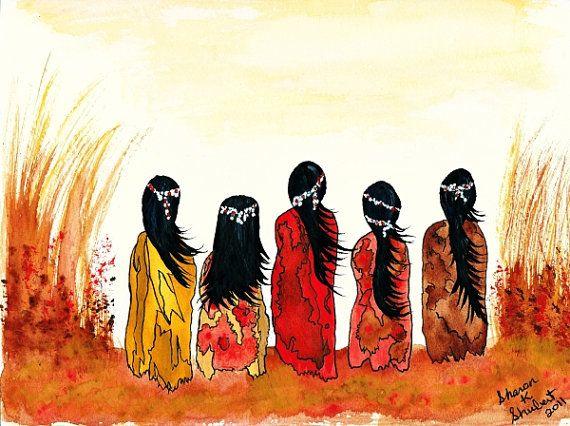 Native American Girls Giclee Print Southwest Watercolor Painting Wall Decor 8 x 10 Digital Print