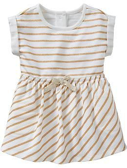Glitter Stripe Terry Dresses for Baby | Old Navy