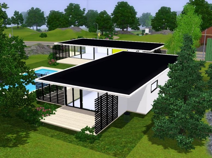 Fidji Sims 3 Modern Houses House Plans Pinterest