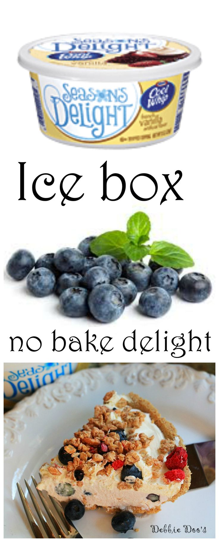 Perfect and easy no bake icebox cake recipe with fresh blueberries, french vanilla cool whip yogurt. Festive red white and blue pie.