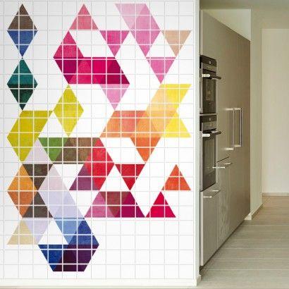 Mid Century Modern Tile Murals #tilemurals #tilesstickers #walltilesdecals #moonwallstickers #midcenturymodern