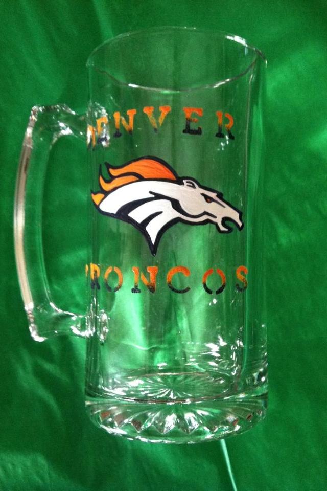 Denver Broncos beer mug.