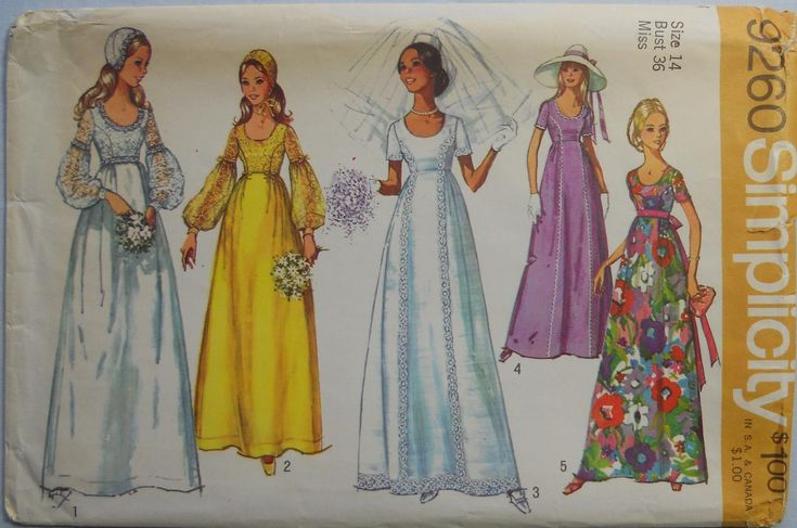 Simplicity 9260. Vintage 1971 bridal gown pattern. Vintage wedding dress and bridesmaid dress pattern. Regency bridal gown. SZ 14. Uncut