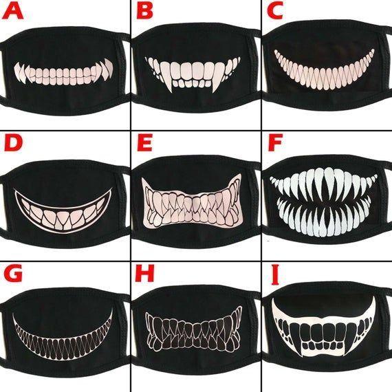Demon Monster Scary Teeth Anime Big Design Face Cover Mouth Mask 1000 Mouth Mask Design Mask Mouth Mask