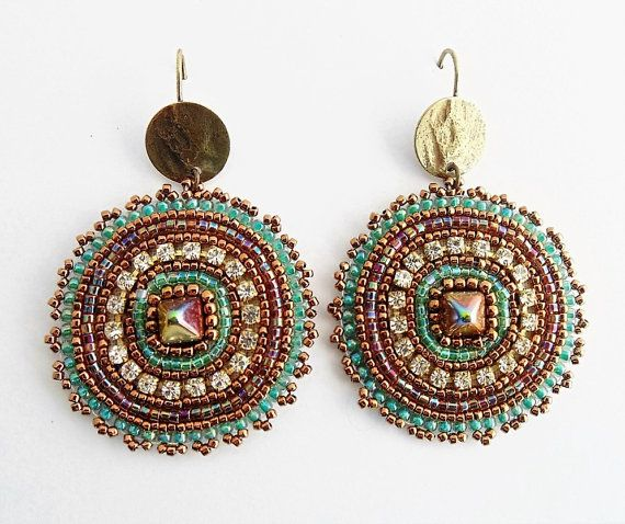 """""""Sundara Earrings"""". Handmade earrings created with the ancient Embroidery technique. This is a model with the typical style of one of the most"""