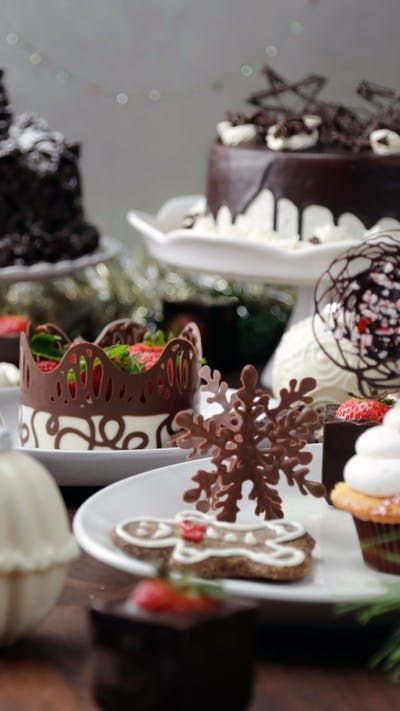 Turn your holiday party into a chocolate winter wonderland with eight hacks ranging from edible ornaments to cake toppers and more!