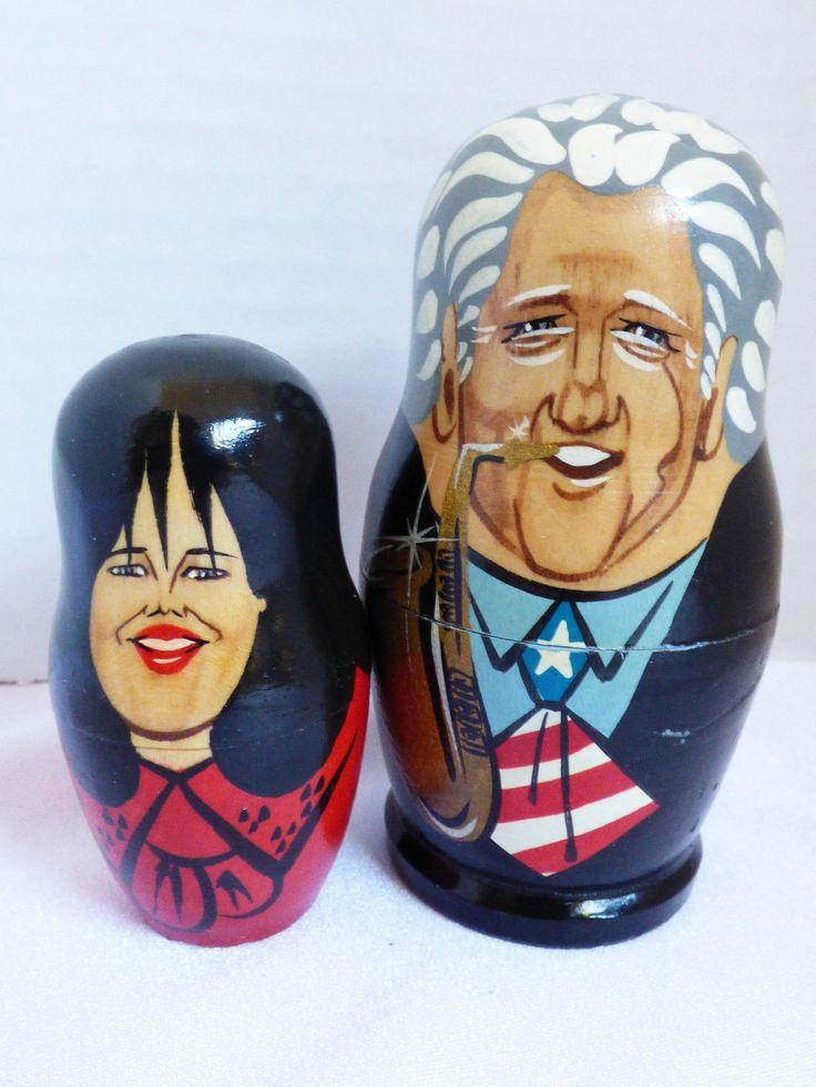 Bill Clinton & Monica Saxophone Russian wooden Nesting Dolls 2 Pc only Set | eBay