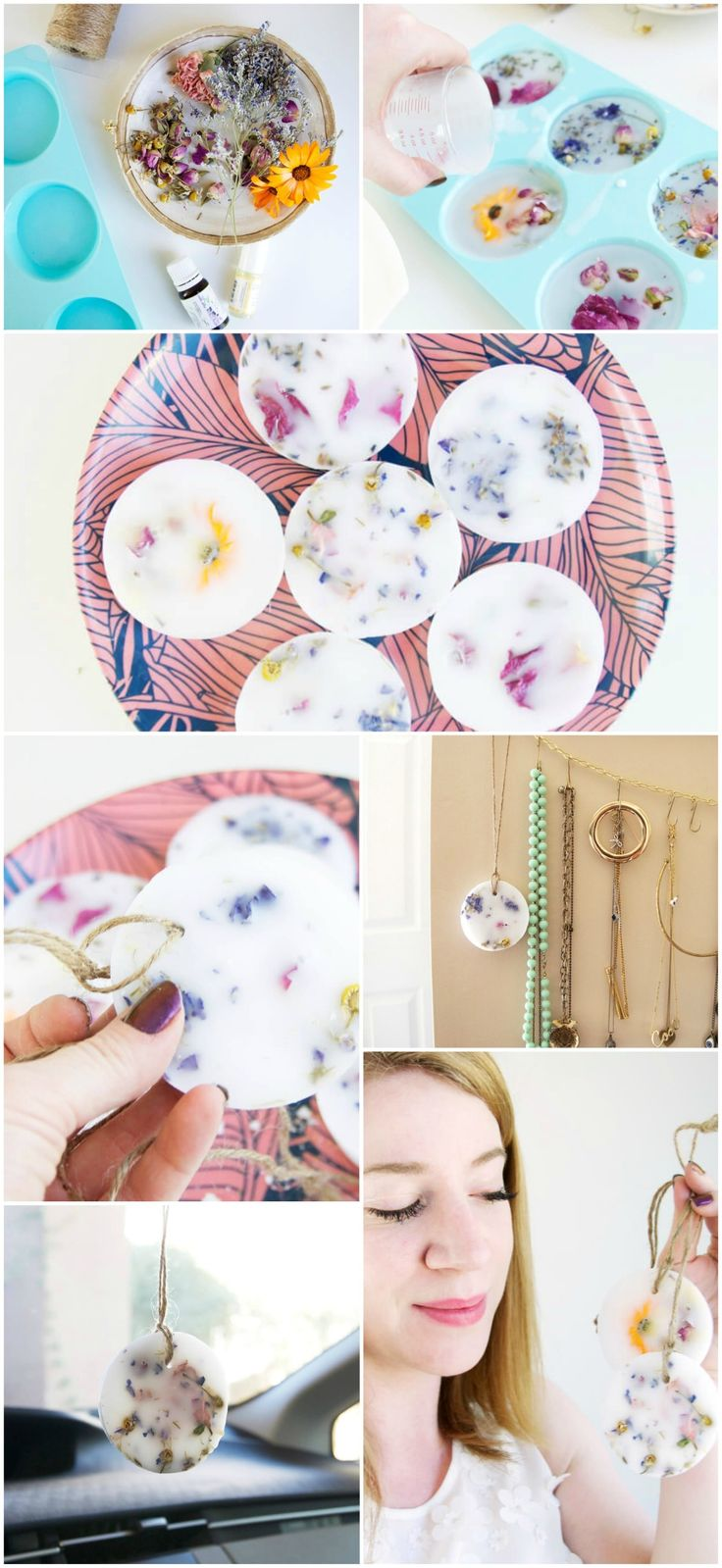 'Tis the season for spring cleaning, and along with that comes an inherent desire to make everything in your home smell amazing. Try our DIY for these beautiful, scented floral wax sachets that you can tuck into your drawers, hang in your entryway, or loop around a hanger in your closet.