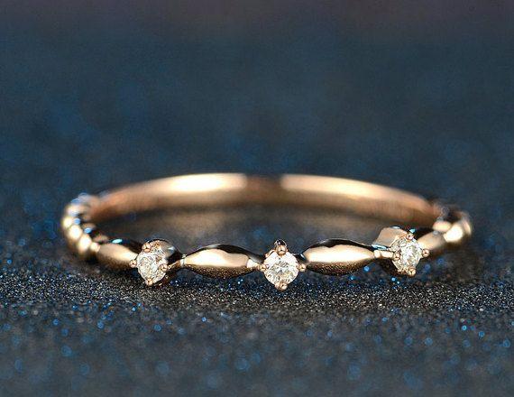 Antique Style Diamond in 18k Rose Gold Engagement Ring Wedding Birthday Anniversary Valentine's
