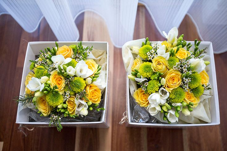 yellow white and green wedding flowers by Lily West