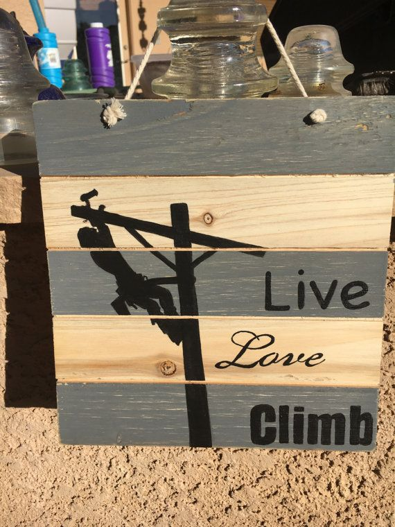 Custom Wooden Lineman Silhouette Sign by DivineSignsStudio on Etsy