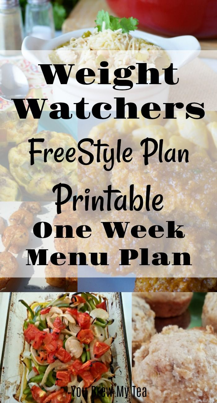 Weight Watchers FreeStyle Plan One Week Menu Plan | weight ...