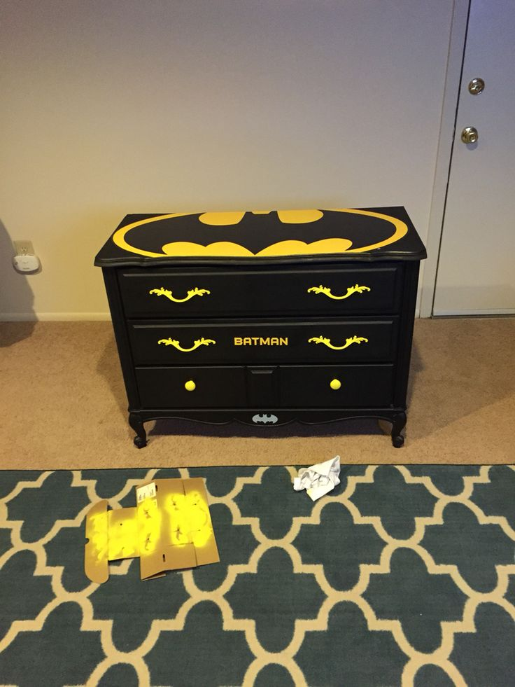 Old dresser I made into kids batman dresser