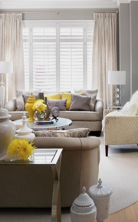 #homedesign #livingroomdecor #inspiration | This living room was inspired by the love of neutrals and an urge from the client to incorporate pops of colour. Yellow and Gray was our launch palette. We soon found lovely visuals, to support our mission. We kept the furniture calm and serene then punched each piece with pops of fun sunshine yellow