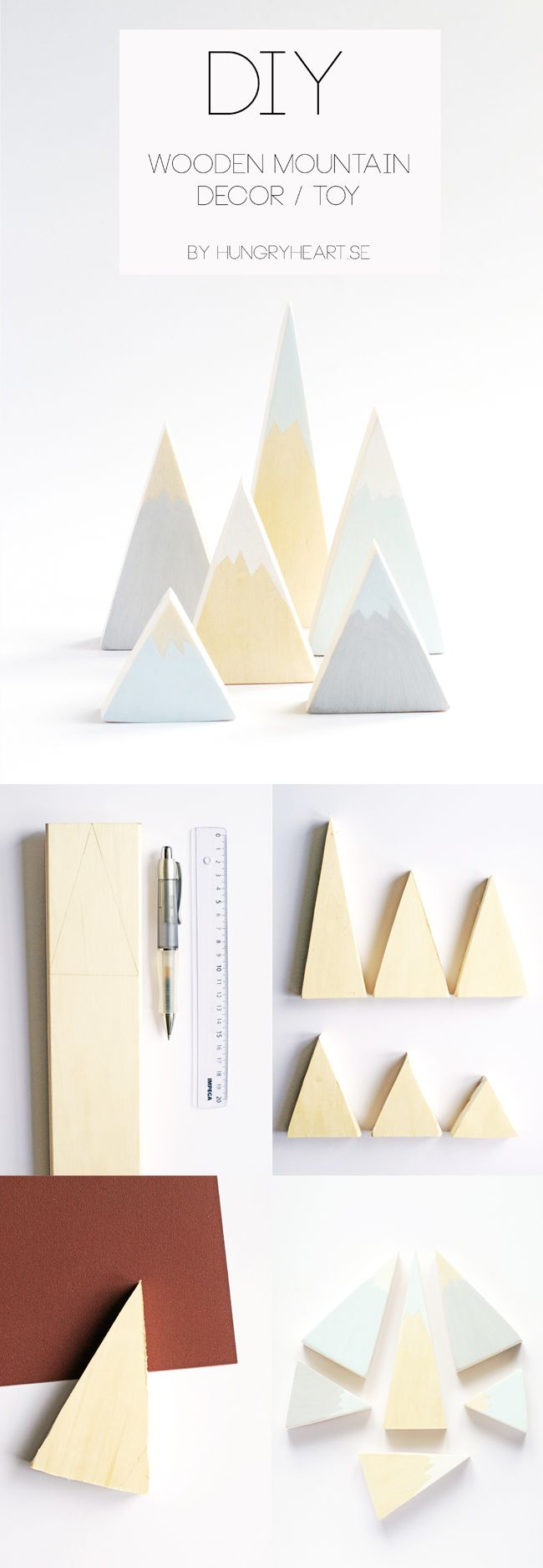 Would be cute for a Christmas village  DIY Wooden Mountain Decor & Toy | Hungry Heart
