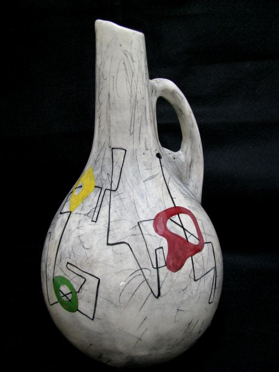 Weg Pottery Ceramic Water Pitcher Jug Vase 1950s Mid Century Modern William Forauer Elmer Gross