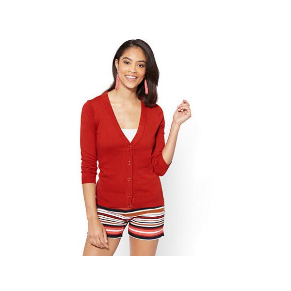 7th Avenue V-Neck Chelsea Cardigan Novelty Button ($20) ❤ liked on Polyvore featuring tops, cardigans, red, button front top, three quarter sleeve tops, short-sleeve cardigan, 3/4 sleeve v neck cardigan and v neck cardigan