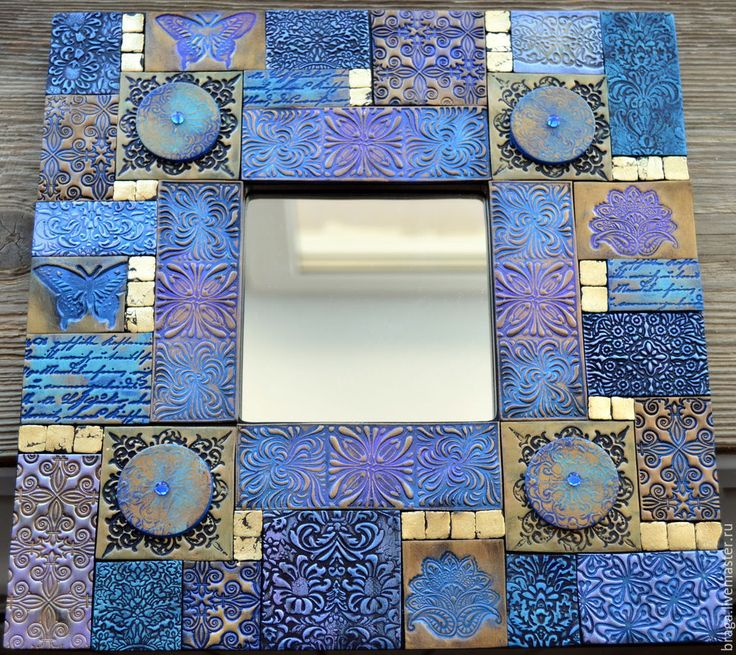 Купить Зеркало декоративное. Фиолетовая мозаика 3 из полимерной глины - фиолетовый, зеркало, фиолетовое зеркало