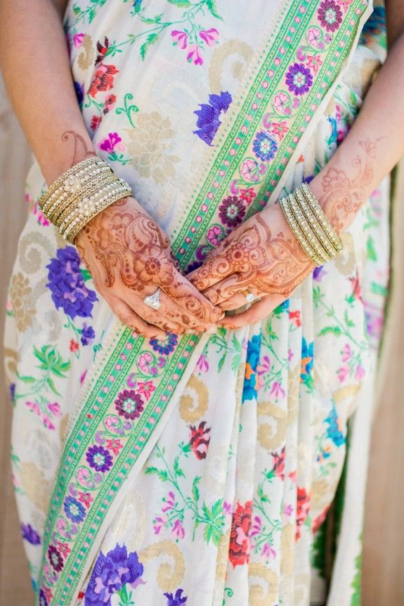 Lovely delicate henna and flower brocade sari | Indian Jewish Wedding - Volatile Photography