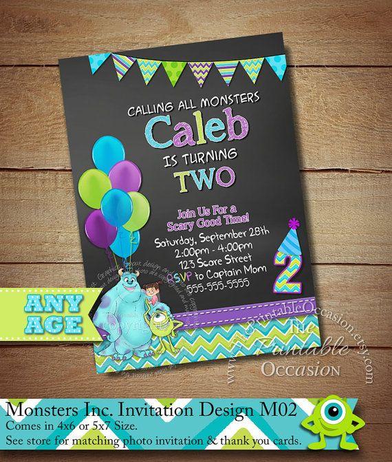 Monster Inc Invitation Photo Birthday Party University