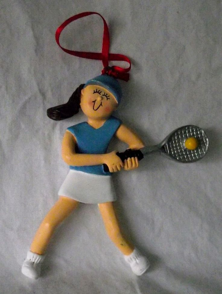 Tennis Ornament Girl Teen Christmas Badminton Racquet Sports NWT Figurine NEW