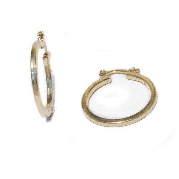 12591f3 18kt Brazilian Gold Filled Classic Flat Hoop Earrings