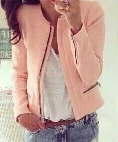 Casual Round Collar Long Sleeve Zippered Jacket For Women