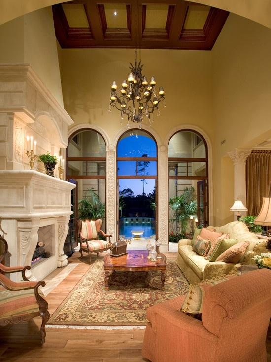 14 best images about high ceiling living room on pinterest for Mediterranean living room