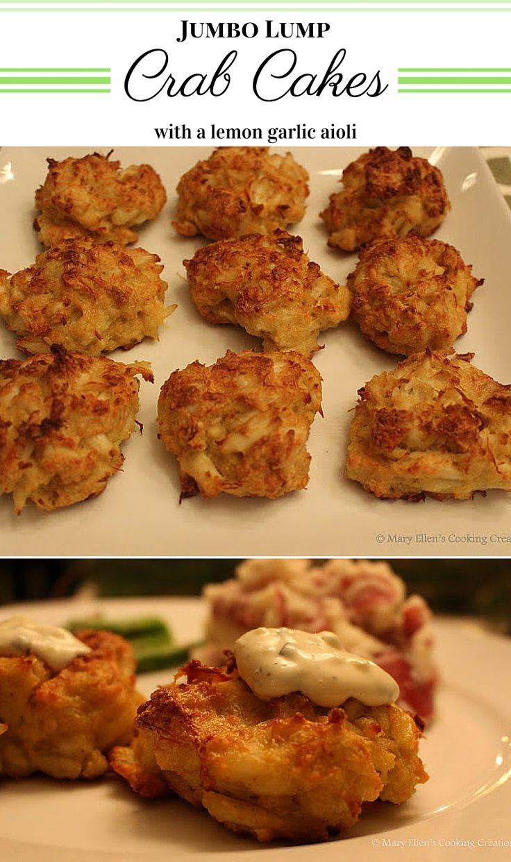 The Original Legal Seafoods Recipe - Jumbo Lump Crabcakes with my lemon garlic aioli. Baked crabcakes are easy to make and healthier than fried! Great for entertaining and they reheat well. Turn them into the perfect bite sized appetizer by making them smaller!
