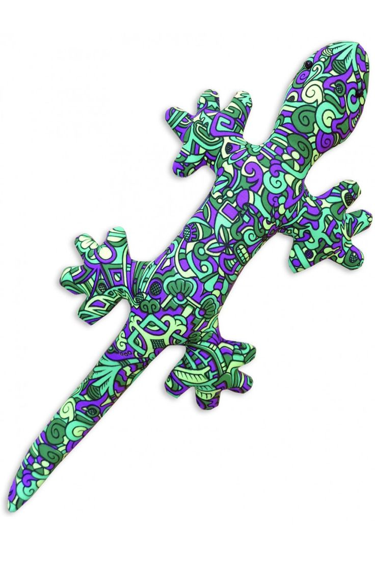Genki Gecko : Lime MiniMayan Space Tribe Gecko ! Approximately 45 cm long. UV Active ! Beady eyes! Hanging loop on underside. 100% cotton with Dacron filling. Artwork by Adi
