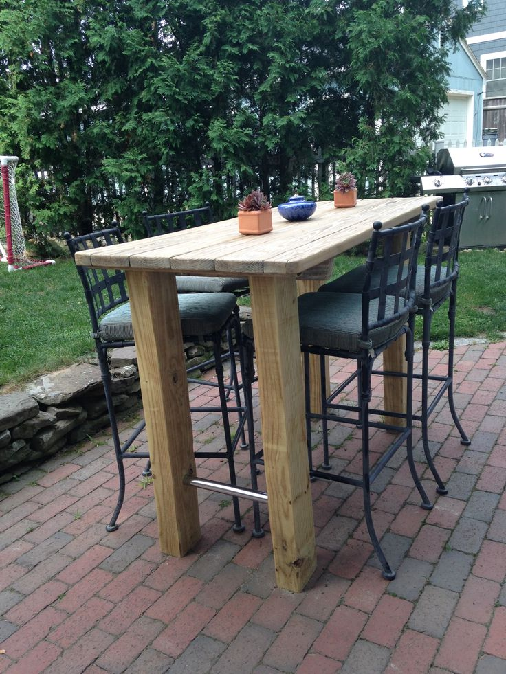 We wanted a bar height table, so found an old picnic table, refinished it, and sanded some timbers to create the look!