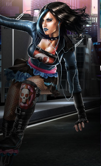 This is the inspiration for my Halloween costume this year.  A character from Saints Row: The Third.  I mean, she's a rollerblading enemy with a rocket-powered hammer.  Perfect.