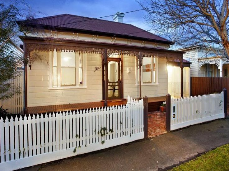 Cream and white Victorian house. Lace and verandah posts should be white. 5 Cowper Street, Brighton, Vic 3186