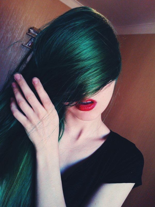 The 25 Best Dark Green Hair Ideas On Pinterest  Emerald Hair Dark Green Ha