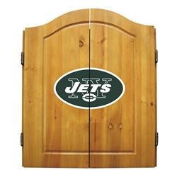 New York Jets NY Dart Board Cabinet & Bristle Dartboard Set