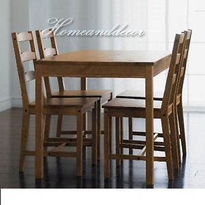 ikea wood dining table and chairs set solid brown pine jokkmokk new ebay