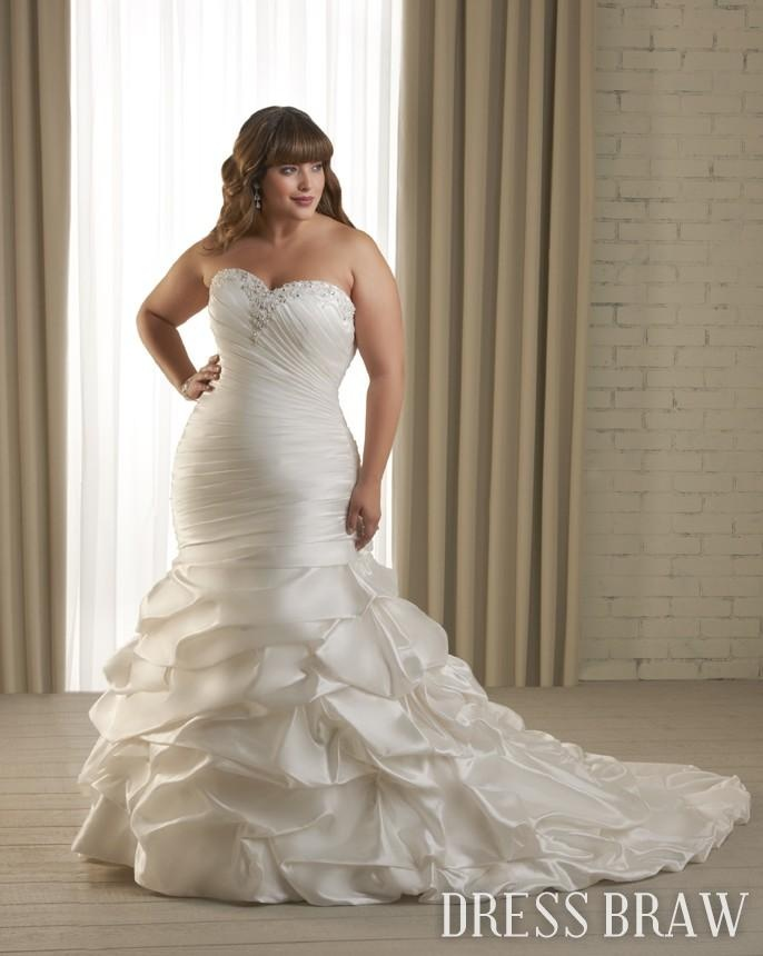 Fantastic Trumpet/Mermaid Sweetheart Chapel Train Draped Plus Size Wedding Dress: Dressbraw.com