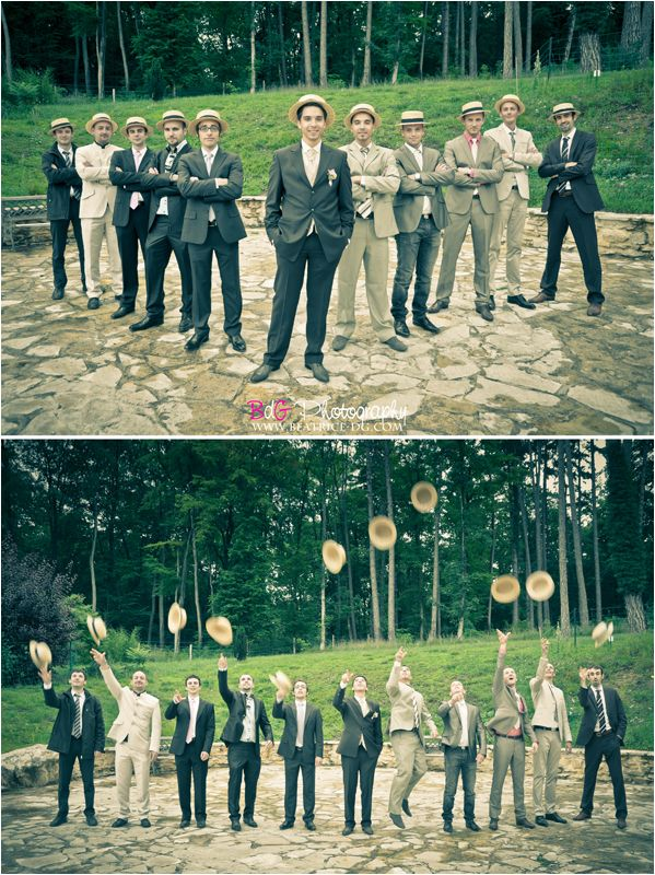 vintage wedding groomsmen, hats & pose. Fun!
