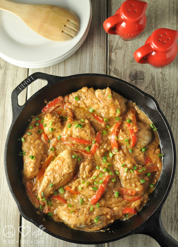 Peanut Chicken Skillet - Low Carb, Gluten Free | Peace Love and Low Carb
