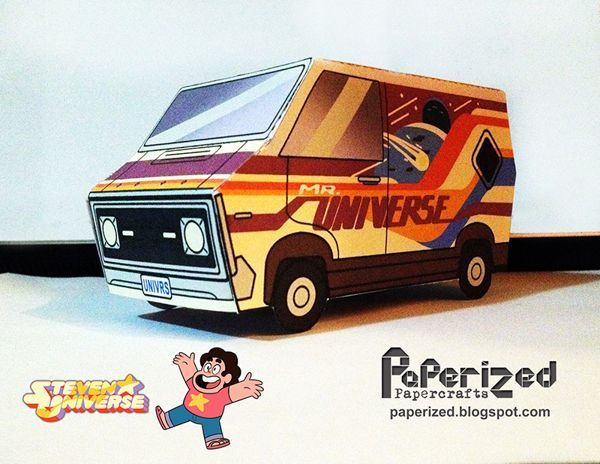Steven Universe - Greg's Van Free Paper Toy Download - http://www.papercraftsquare.com/steven-universe-gregs-van-free-paper-toy-download.html#GregSVan, #StevenUniverse