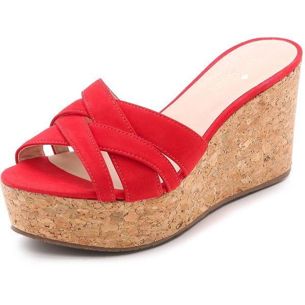 Kate Spade New York Talcott Cork Wedges ($66) ❤ liked on Polyvore featuring shoes, sandals, wedges, tomato red, wedge heel sandals, wedge sandals, red platform shoes, wedges shoes and platform wedge shoes