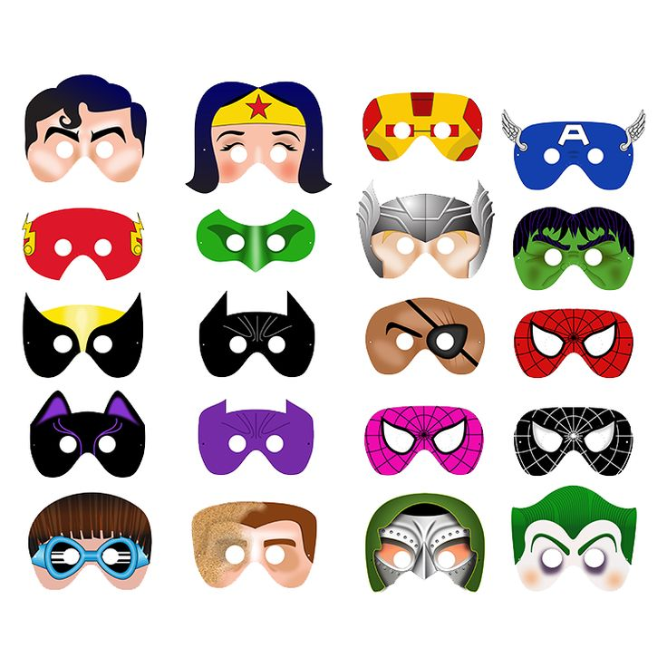 20 Printable SUPERHERO MASKS $28