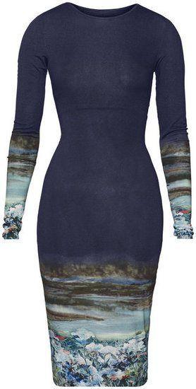 Joseline Hernandez Black Green & Blue H&M Trend Landscape Print Bodycon Dress