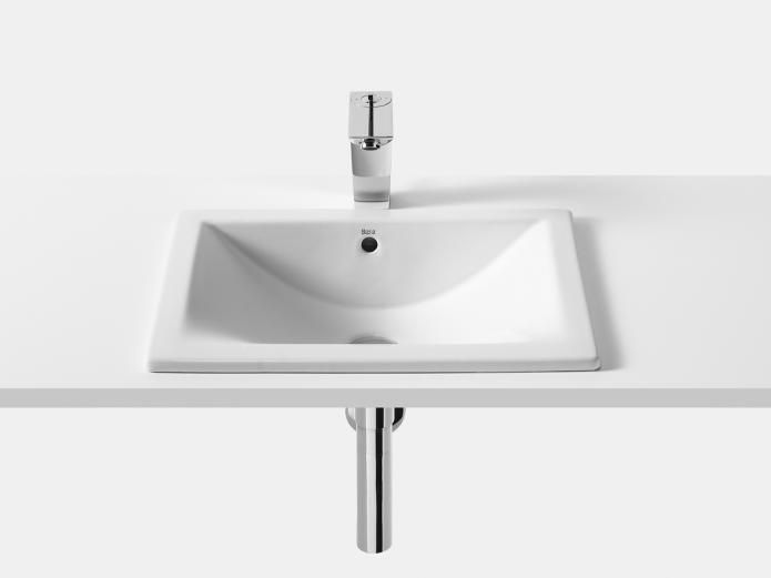 Roca Diverta 500 Inset Basin $289.99 from Reece.    Can be inset or undercounter. Nice shape. Can either inset with a laminate counter top or undermounted into a stone top. #basin