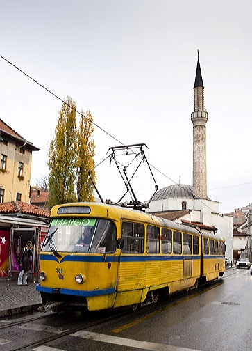 Yellow tram, Sarajevo, Bosnia & Herzegovina  I miss this tram no matter how old it is.