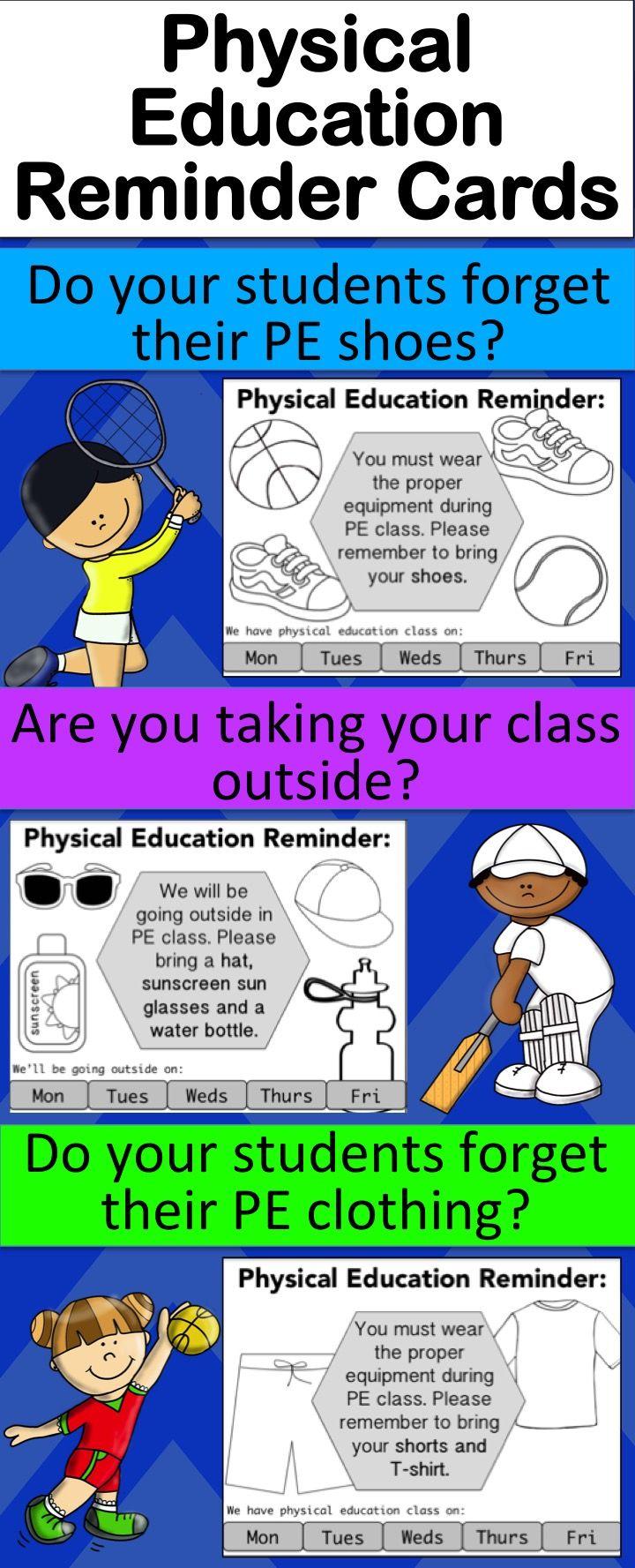 Physical Education Reminder Cards – Shoe Reminder, Clothes Reminder
