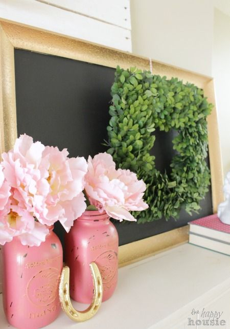 Pastel & Gold Spring Mantel and a Balsam Hill Giveaway: Www Thehappyhousie Com, Gold Color, Boxwood Wreath, Gold Off