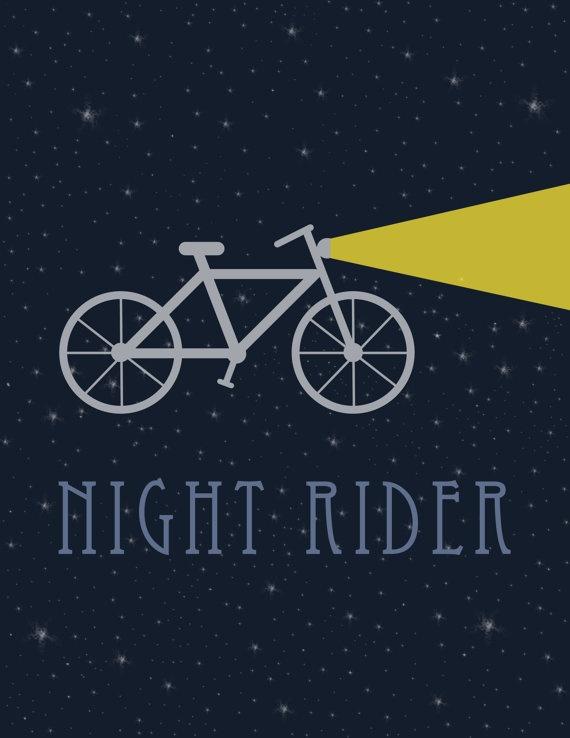 Bicycle Print 8x10 - Night Rider Bicycle Print - night biking print - perfect addition to home decor - cute trendy night bicycle print